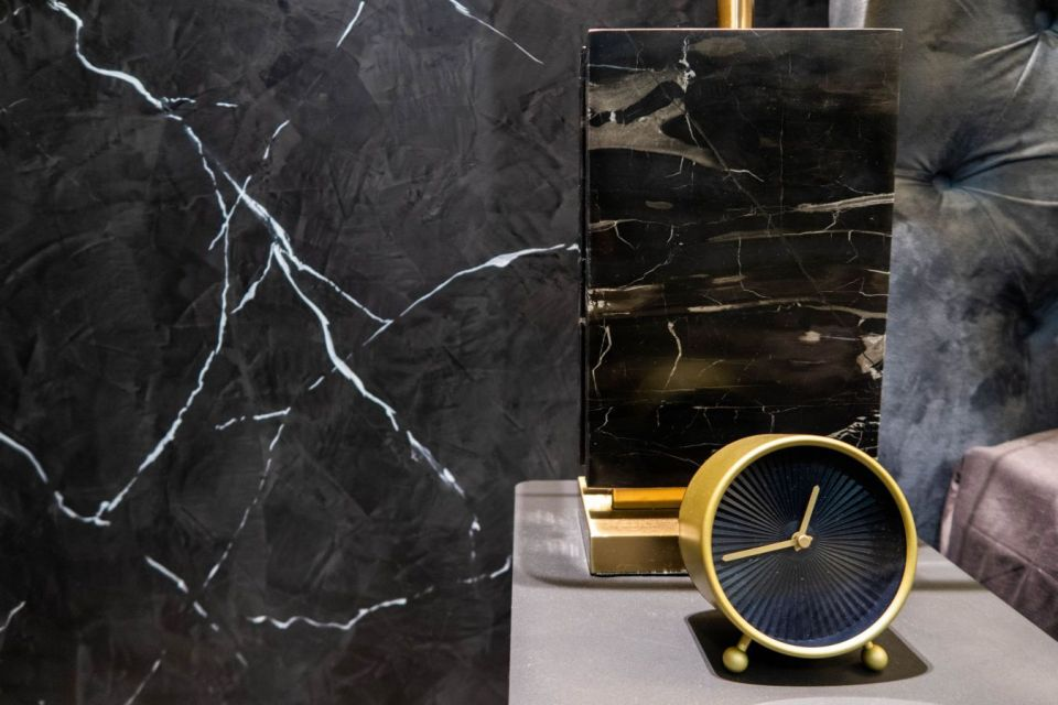 Momento Black Marble painting singapore with black marble lamp