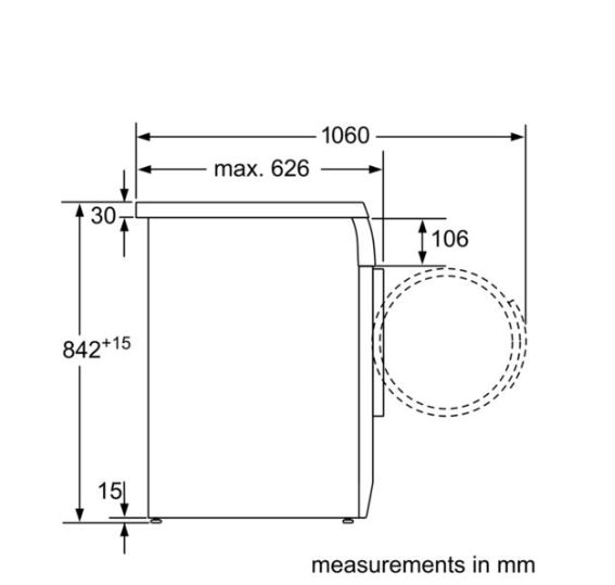 Bosch WTE84105GB 7 KG Condenser measurements