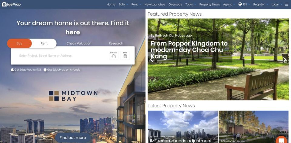 property websites Edgeprop.sg