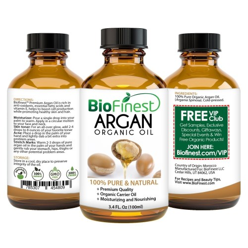BioFinest Organic Argan Oil for Hair Face Skin Pure Natural