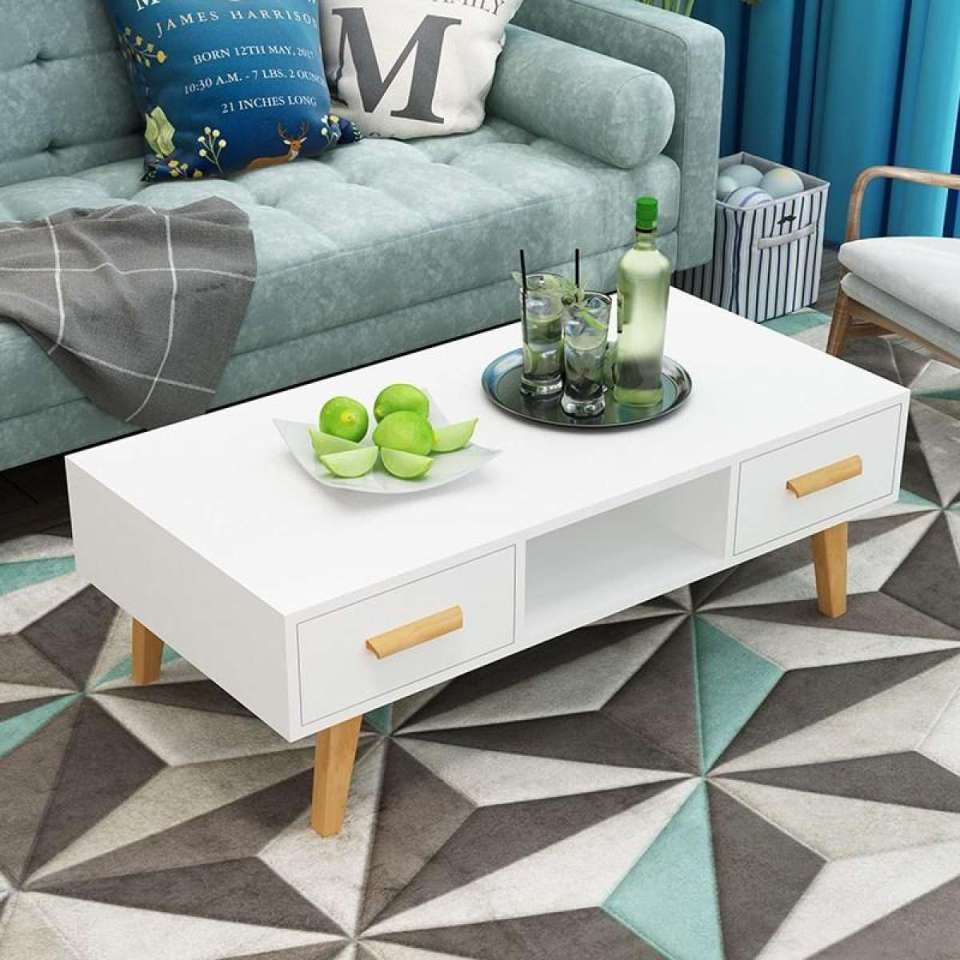Off-White Wooden Coffee Table Singapore With 2 Drawers
