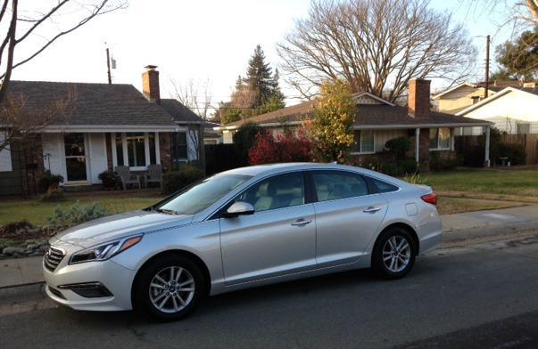 The 2015 Hyundai Sonata has a larger exterior profile.