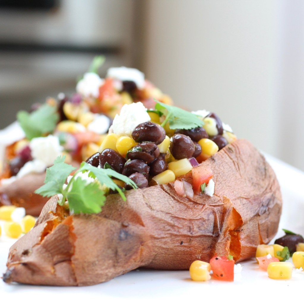 stuffed sweet potato, sweet potato, corn, black beans, red onion, salsa, feta cheese, gluten free, vegetarian,