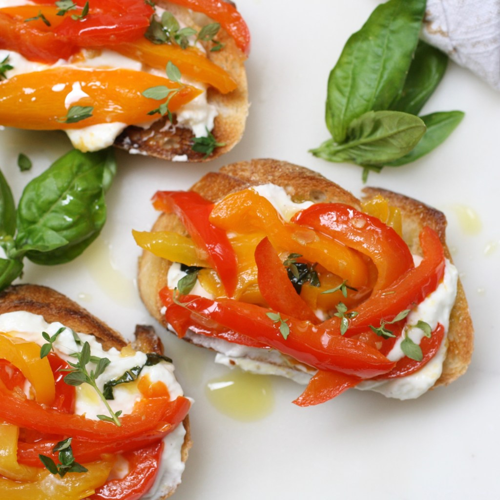 Bruschetta with Whipped Goat's Cheese, Basil and Peppers