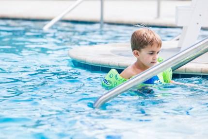 Ethan rockin' it in his water wings.