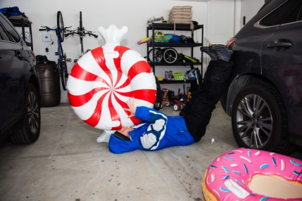 """I helped blow up the tubes for sledding. Tricia """"broke"""" the automatic blower-upper after using it on the donut so I had to do the peppermint manually. I laid down so I wouldn't pass out!."""