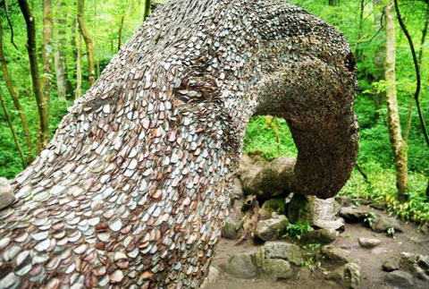 A tree stump studded with coins near Ingleton