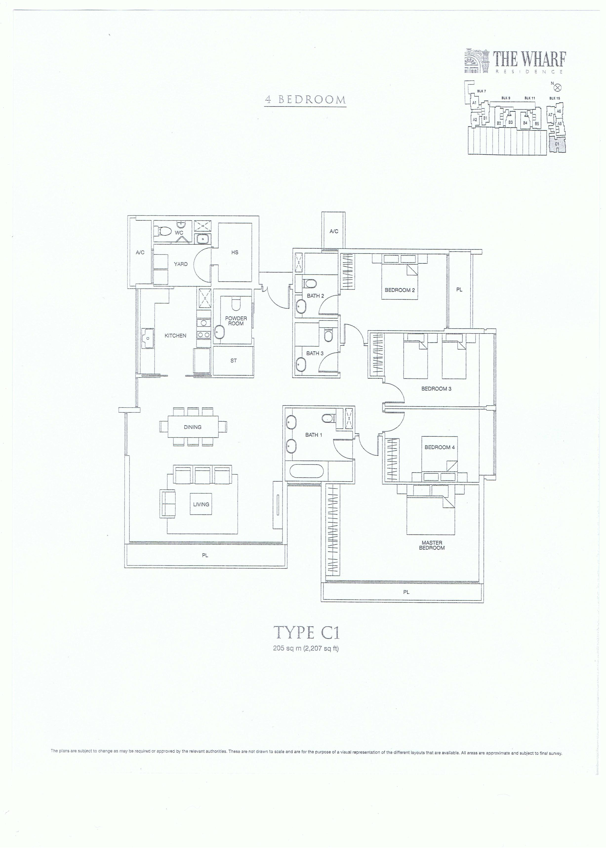 The Wharf Residence 4 Bedroom Floor Plans Type C1