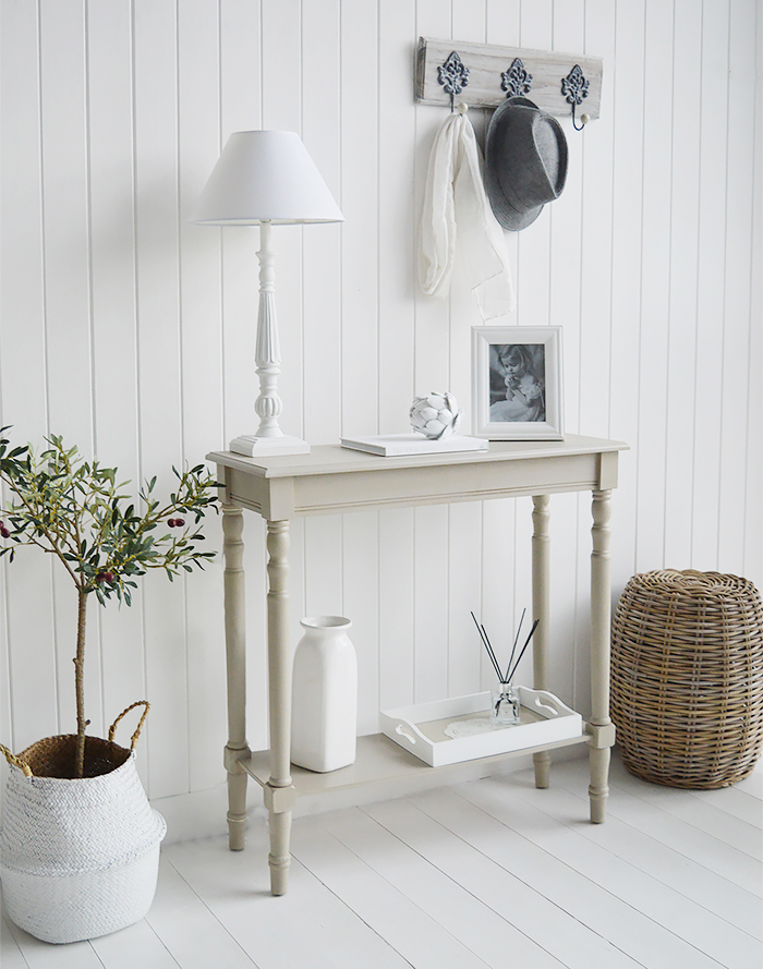 Plymouth Narrow Grey Hall Console Table With A Shelf For Hallway Furniture