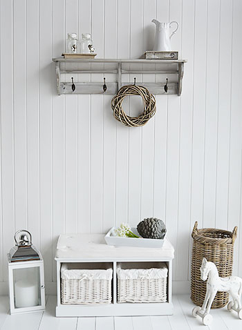 Parisian Grey Wall Shelf With Hooks Four Double Hooks For Coats Simple Hall Furniture