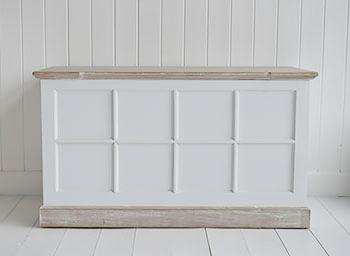 Vermont Large White Storage Trunk Tv Stand Hall Storage
