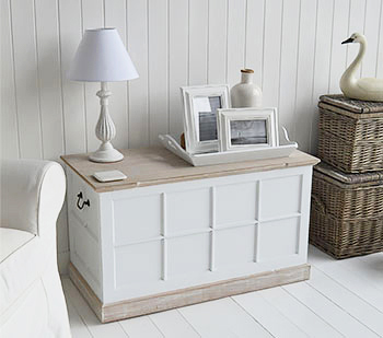 Vermont Large White Storage Trunk Tv Stand Hall Storage