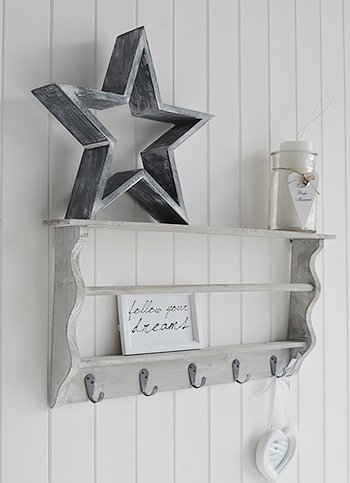grey washed coat rack with shelves for