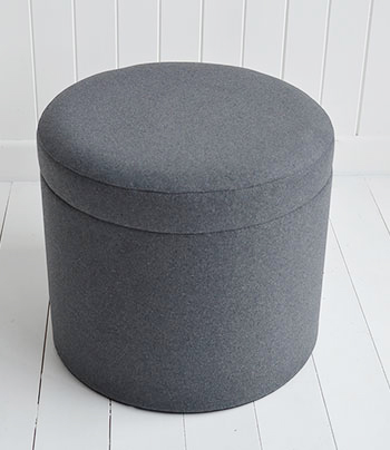 Westhampton Grey Storage Dressing Table Stool The White