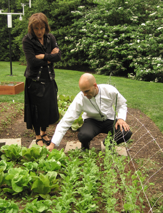 Nora Pouillon of Restaurant Nora with White House Kitchen Garden with Assistant Chef and Food Initiative Coordinator Sam Kass.