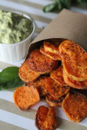 "Sweet Potato ""Chips"" + Dips from the Whole Smiths and the secret to crispy, roasted sweet potatoes! A must Pin. Paleo friendly, gluten free and Whole30 compliant."