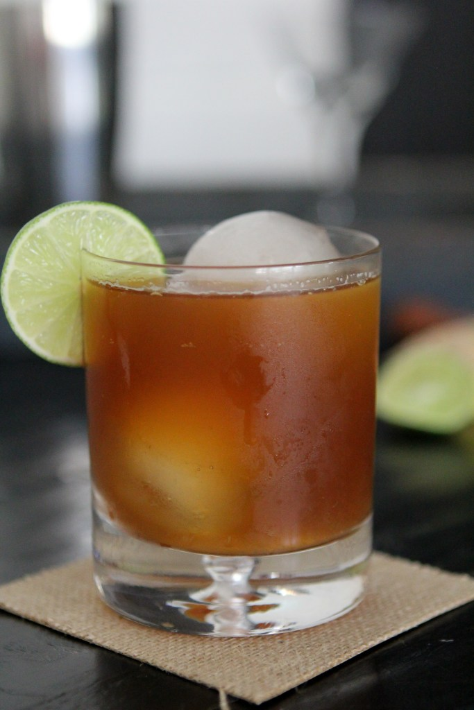 Dark + Stormy from the Whole Smiths. No funky ingredients or flavors added. Ginger beer, lime and honey. Easy to make and a hit with guests. Pin for your next happy hour!