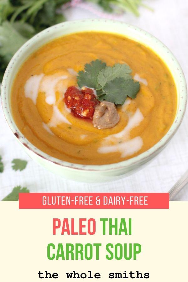 paleo thai carrot soup pinterest graphic