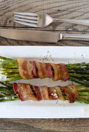 paleo bacon wrapped asparagus lemon butter sauce side