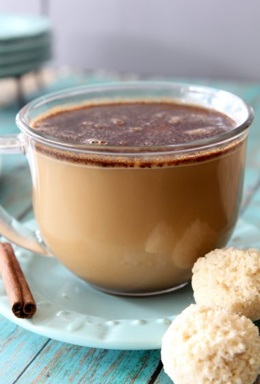 Bulletproof Style Coffee from the Whole Smiths using coconut oil! So delicious and a great way to start the day. Dairy-free, paleo friendly and sweetened with just a bit of maple syrup.