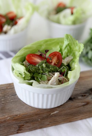 Chicken Pesto Cups from the Whole Smiths. Perfect for to-go lunches! Paleo friendly, gluten-free and Whole30 compliant.