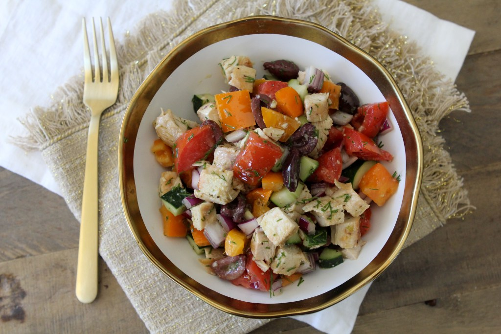 An easy-to-make Mediterranean Chopped Salad from the Whole Smiths. So delicious and great to make ahead! Whole30 compliant, paleo, gluten-free.