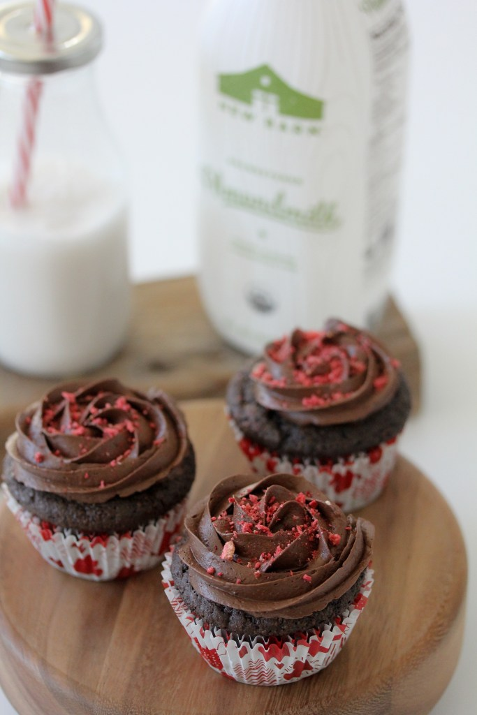 Grain-Free Strawberry Filled Chocolate Cupcakes from The Whole Smiths. Easy-to-make, delicious, gluten-free and paleo.