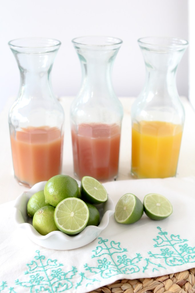 different fruit juices in glass bottles needed to make healthy margaritas