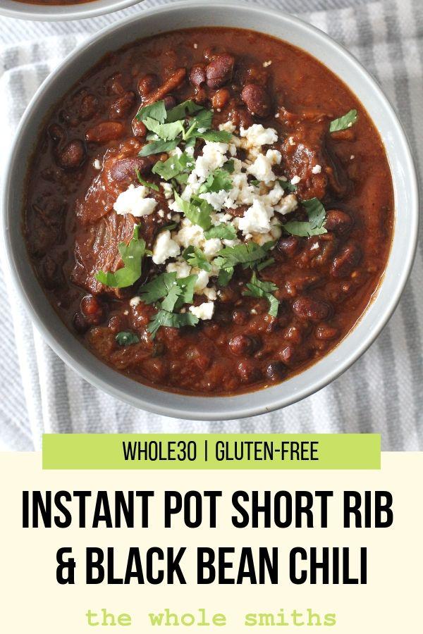 Instant Pot Short Rib Chili Pinterest Graphic