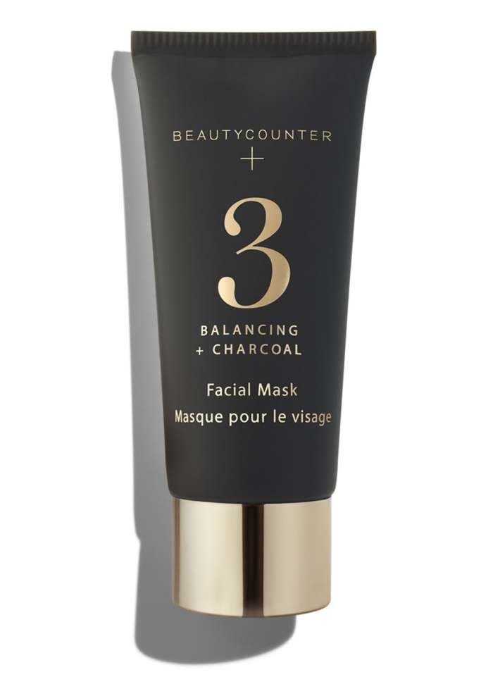 beautycounter charcoal mask in a small black tube