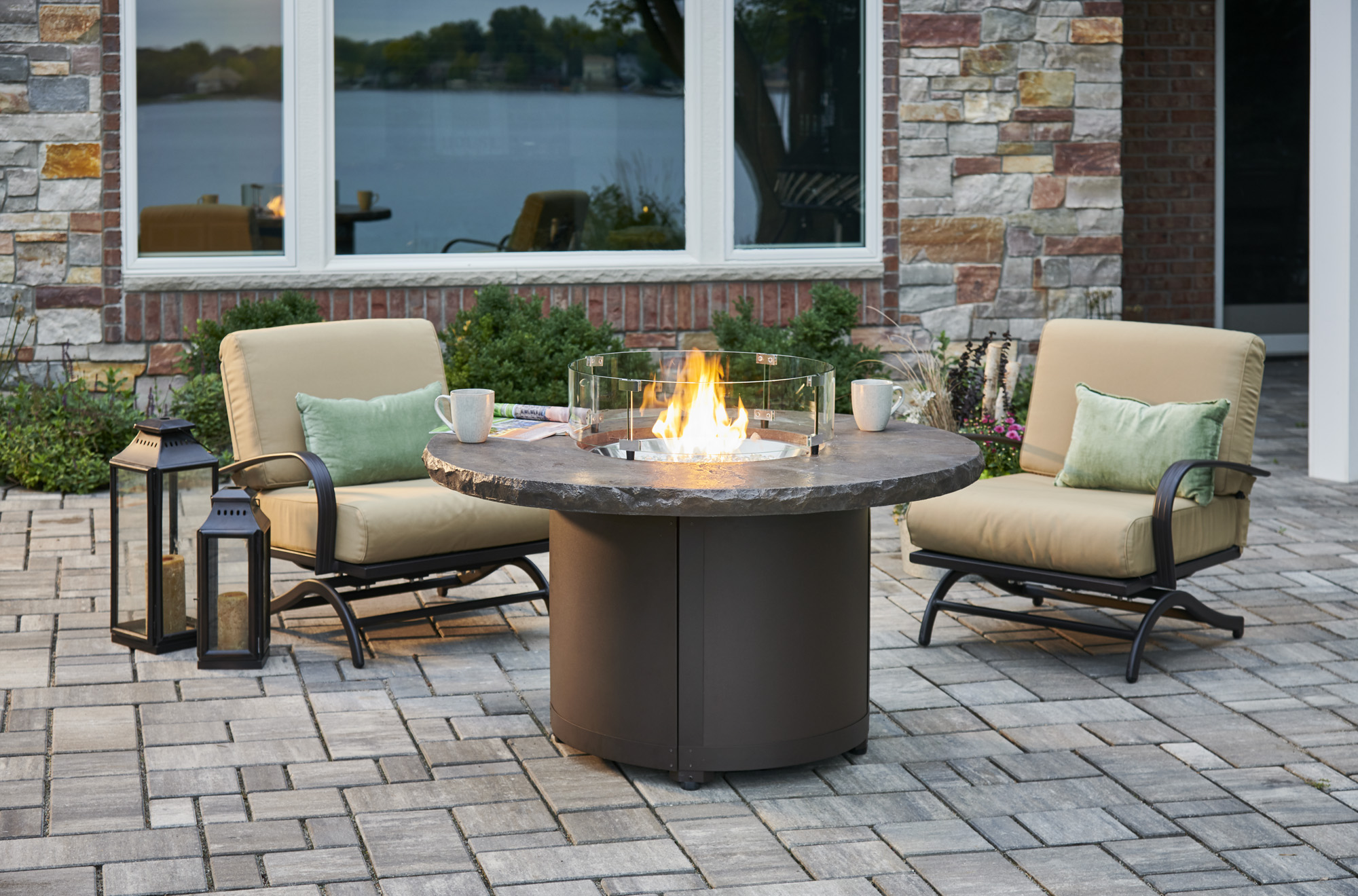 brown beacon chat height gas fire pit table by outdoor greatroom company