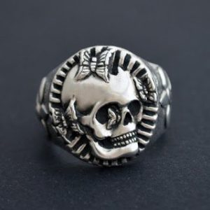 bespoke skull and butterfly ring