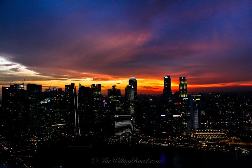 View from the Marina Bay Sands Skypark. If you're going to spend money on going to the top, make sure it is during sunset so that you can see the colors of the sky.