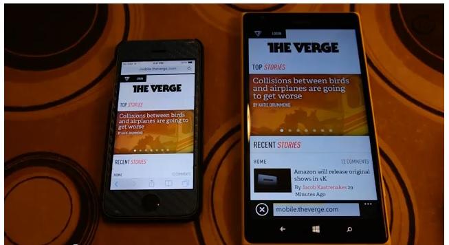 Lumia 1520 vs iPhone 5S browser
