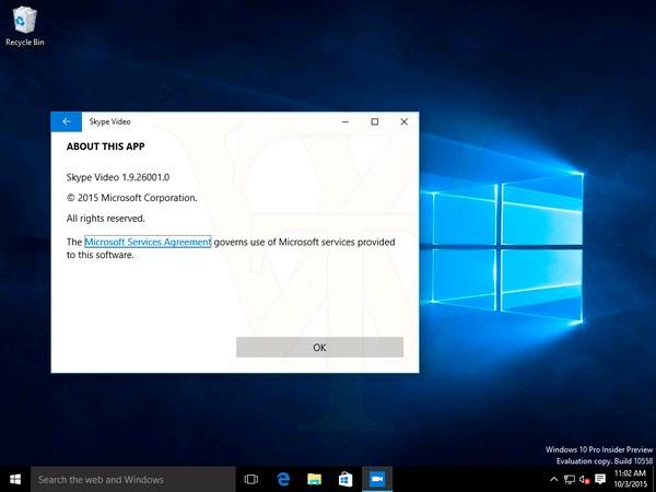 Build 10558 Skype video