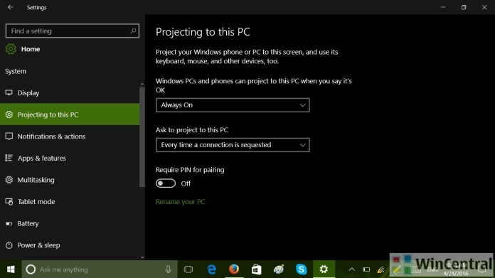Projecting to my PC