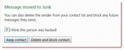 hotmail junk 400x163 Hotmail introduces My friends been hacked security feature