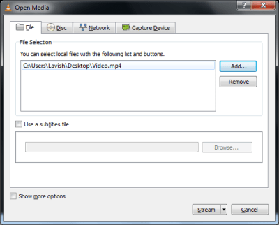 Add Media 400x322 How to stream videos in LAN with VLC Media Player: Screen shot Tutorial