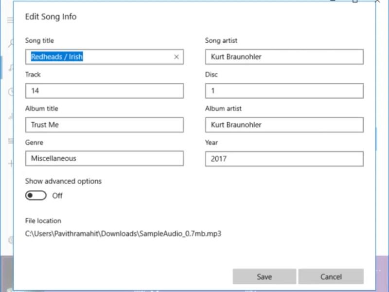 How to edit Music Metadata on Windows 10