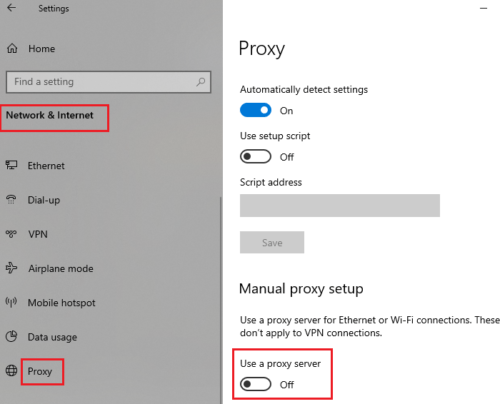 Remove proxy settings from your system