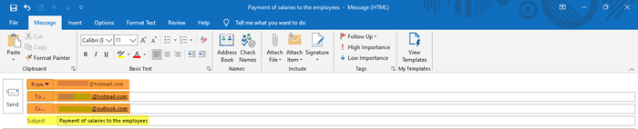 How to create a new email in Outlook application using its features