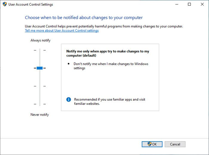 Windows 10 UAC settings