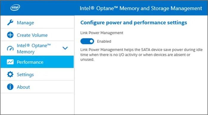 Memory and storage management Intel Optane