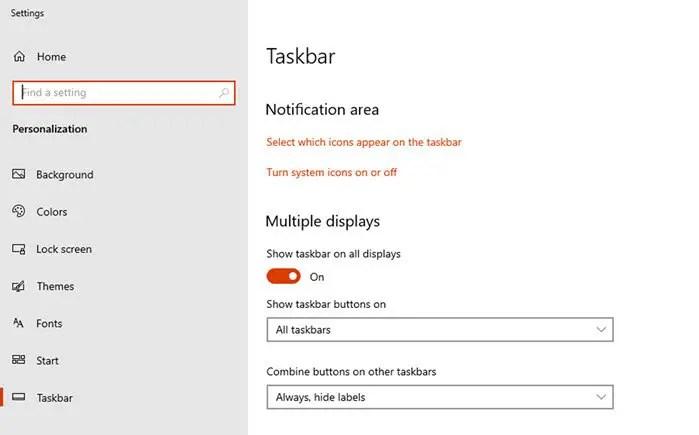 Multiple taskbar display settings