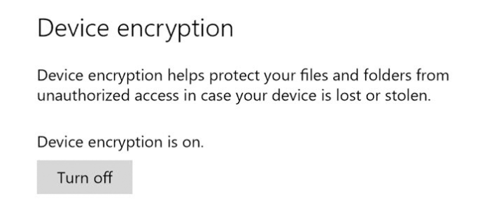 How to turn on or off Device Encryption in Windows 10