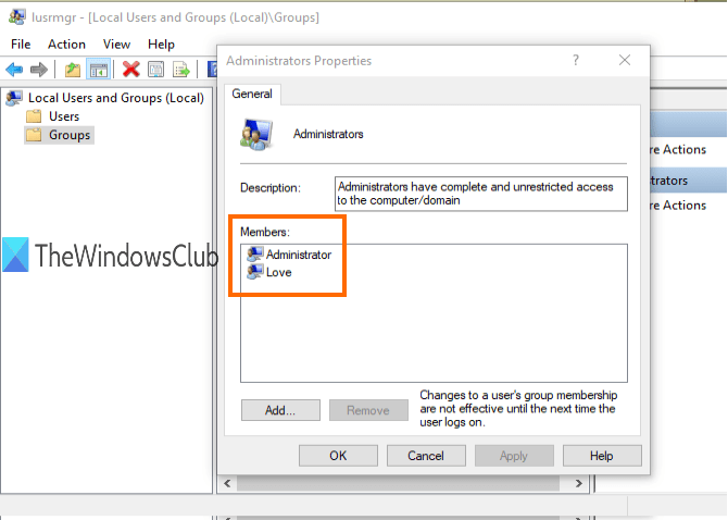 administrator accounts visible in administrators properties