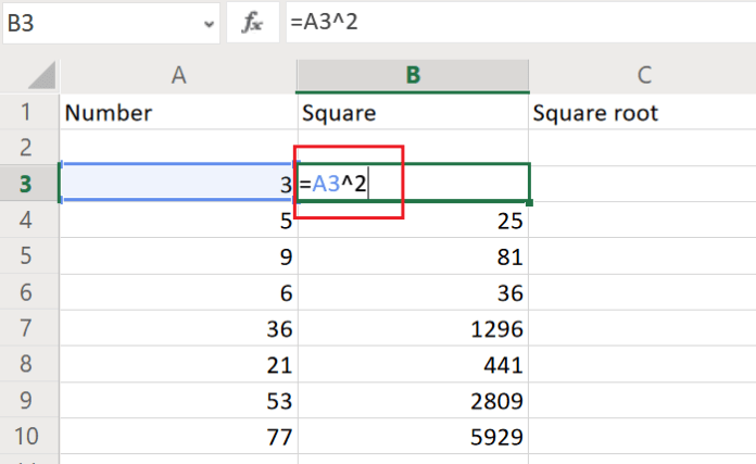How to find the Square and Square Root in Excel