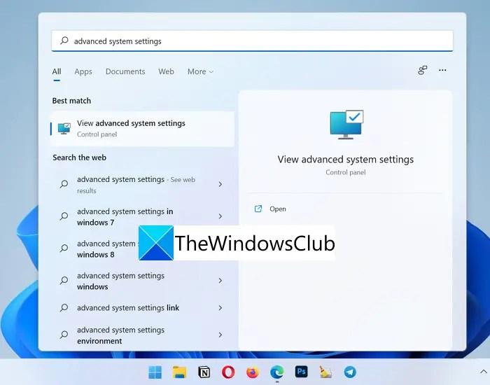 Cài đặt hệ thống nâng cao Windows 11