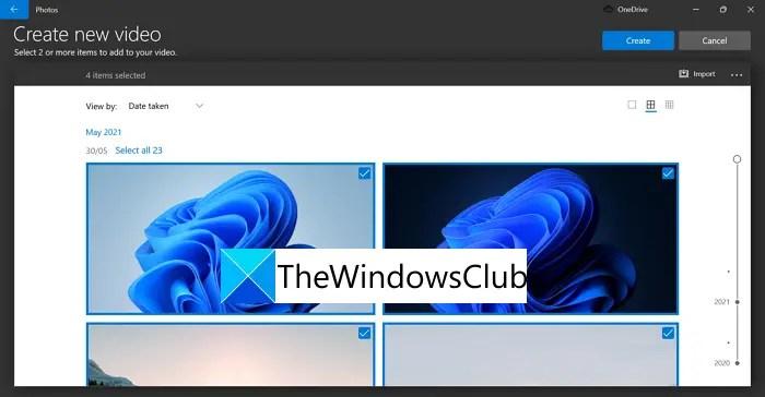 Tạo video mới trên Windows 11