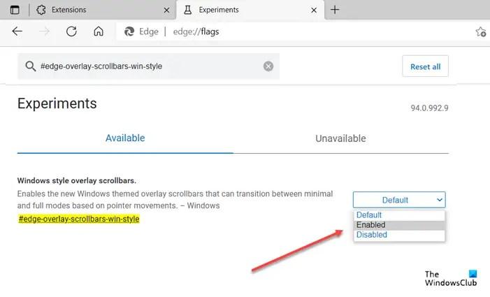 Edge overlay scroll bar indicator